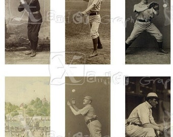 Vintage Baseball - INSTANT DOWNLOAD - 8.5 x 11 inch Printable Digital Collage Sheet - with 21-  1 x 2 inch Domino size images