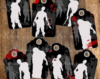 Zombie TAGs - INSTANT DOWNLOAD - 8.5 x 11 inch Printable Digital Collage Sheet - 3.5 inch x 2 inch Gift TAGs