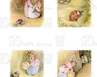 Beatrix Potter's The Tale of Mrs. Tittle Mouse -8.5 x 11 inch Printable Digital Collage Sheet - with 30 - 1 Inch Square Images