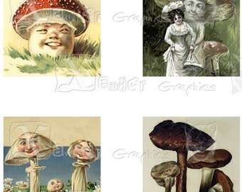 Vintage Mushrooms - INSTANT DOWNLOAD -  8.5 x 11 inch Printable Digital Collage Sheet - with 35 - 1 Inch Square Images