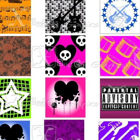 Rock n Roll - 8.5 x 11 inch Printable Digital Collage Sheet - with 45 - 1 Inch Square Images