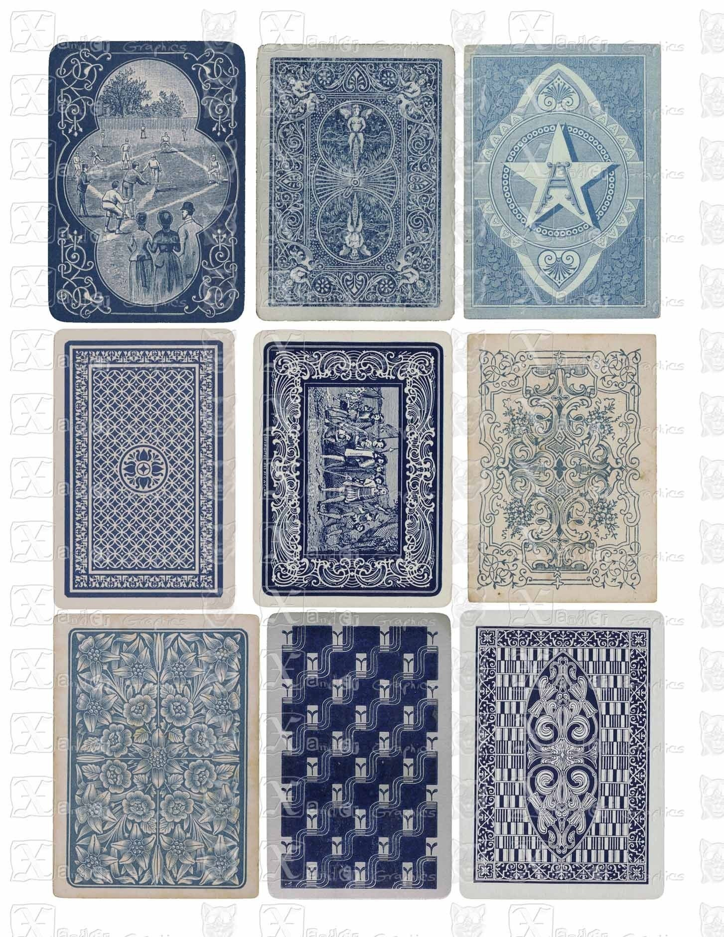 Vintage Playing Cards BLUE Backs INSTANT By XanderGraphics