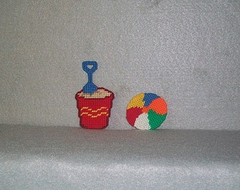 A day at the Beach Plastic Canvas Refrigerator Magnets / Pail and Shovel Magnets / Beach Toy Magnets/Kitchen Decor