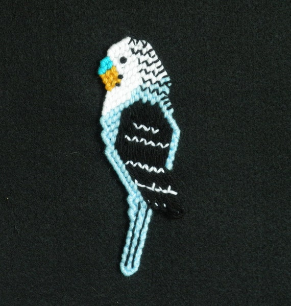 Perfect Parakeet Magnet--Blue, with a black wing and white head