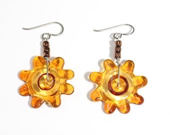 Amber Glass Flower Earrings
