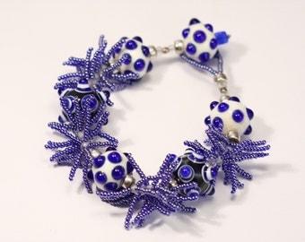Cobalt Fringe Bracelet