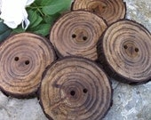 Wood Buttons - Wooden Tree Branch Buttons (Set of 5) - 2 1/8 inches, 2 holes, Great for Journals, Pillows, Handbags, and Fiber Artists