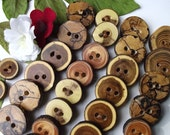 RESERVED - 75 Assorted Wood Buttons Handmade from Down Tree Branches - 1 1/2 to 2 inches, 2 holes, For Journals, Purses, and Fiber Artists