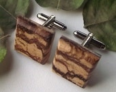 Wood Cuff Links - Wooden Cufflinks - Marblewood - Perfect for the Groom or Father - 3/4 inch Diameter