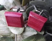 Wood Cuff Links Handmade from Pink Ivory Wood - Cufflinks - Perfect for the Groom or as a Gift - 3/4 inch Diameter