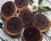 Wooden Buttons - 6 Cedar Wooden Tree Branch Buttons - 1 3/4 x 1 1/2 inches, 2 Holes, For Knitting, Journals, Pillows, Purses
