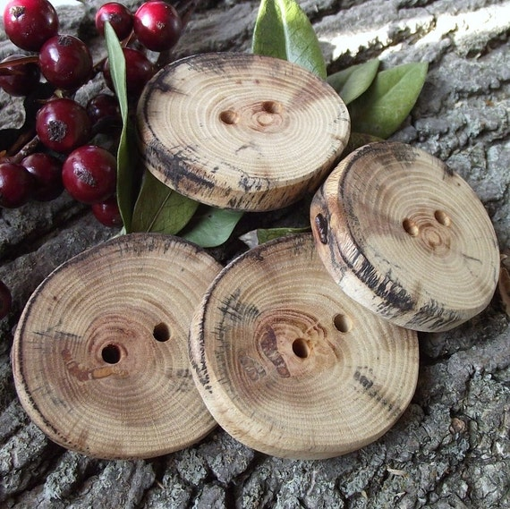 4 Multi-Colored Tree Branch Buttons - 1 3/4 inches x 1 5/8 inches, 2 holes, Great for Journals, Pillows, Handbags, Favor and Gift Boxes, Knitting and Sewing
