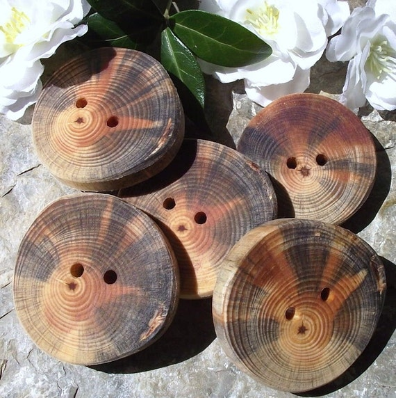 5 Pretty Pine Wood Tree Branch Buttons - 1 7/8 x 1 3/4 inches, 2 holes, Perfect for Journals, Decorative Pillows, Fiber Art Projects