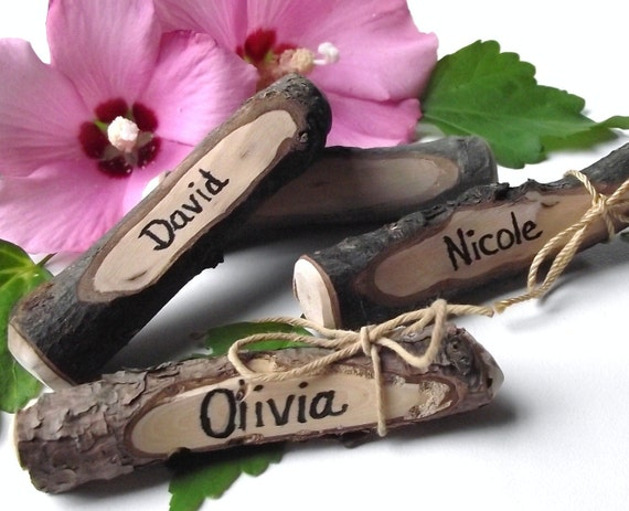 RESERVED - Twig Place Cards Handmade from Reclaimed Wood Tree Branches (Qty of 52) - Ideal for Rustic Weddings and Dinner Parties