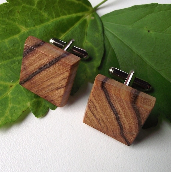 Wood Cuff Links Handmade from Olivewood - Wooden Cufflinks - Perfect for the Groom or Father - 3/4 inch Diameter
