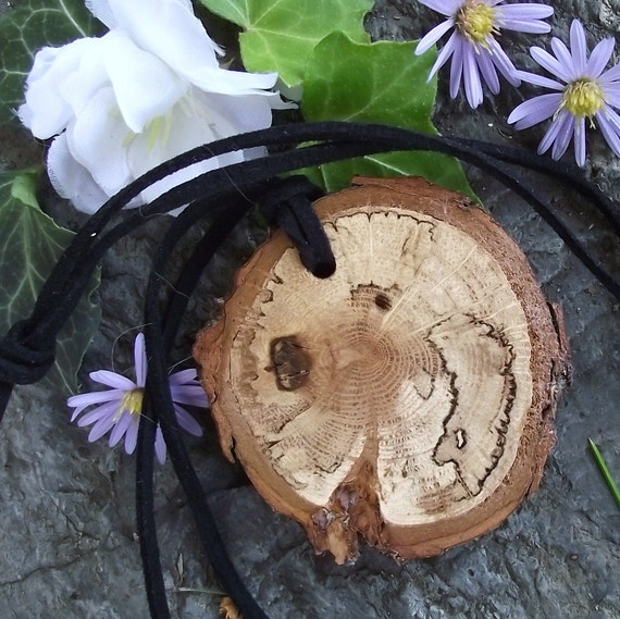 Wooden Pendant with Suede Cord - Rustic Oak Wood Necklace - Great Gift Idea for the Wood Lover
