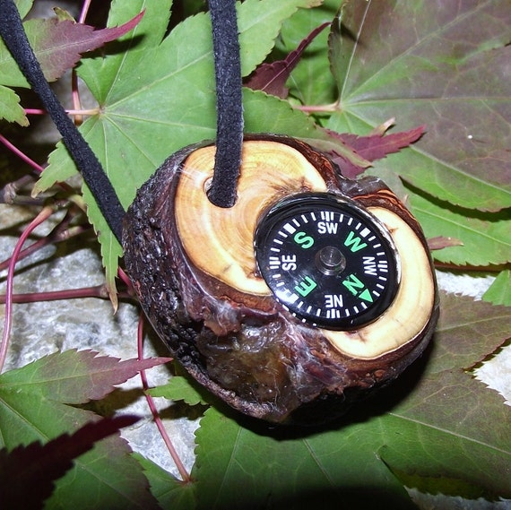 Wooden Compass Handmade from Rustic Spruce Wood Tree Branch - Pocket Survival for Hiking, Camping, Fishing, or Gift for the Nature Lover