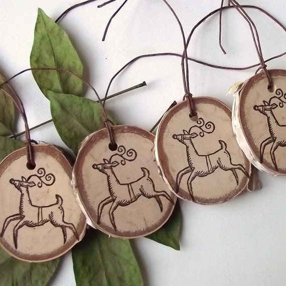 Wood Gift Tags - 5 Rustic Birch Wood Wooden Holiday Ornaments - A natural embellishment for gift bags and boxes, baked goods, and more