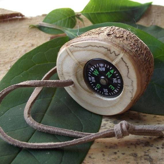 Wood Compass - Handmade from a Reclaimed Wood Tree Branch - Pocket Survival for Hiking, Camping, Fishing, or Gift for the Nature Lover