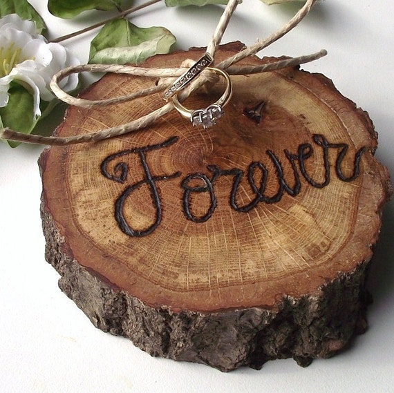 Ring Bearer Wood Slice - Eco-Friendly Wood Burned Ohio Oak Wood - Rustic Eco-Chic for Outdoor Cottage or Woodland Wedding