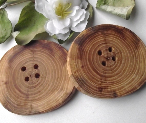 Wood Buttons - 2 Handmade Ohio Wooden Tree Branch Buttons - 2 3/4 x 2 3/8 inches, 4 holes, For Journals, Pillows, Knitting and Sewing