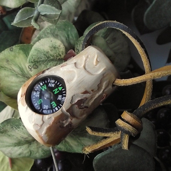 Wooden Compass - Handmade from a Rustic Pine Wood Tree Branch - Pocket Survival for Hiking, Camping, Outdoor, or Gift for Nature Lover