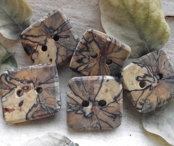 RESERVED - 5 Square Spalted Maple Wood Tree Branch Buttons - Wooden Buttons - 1 3/8 x 1 1/4 inches, 2 holes, For Journals, Pillows, Knitting