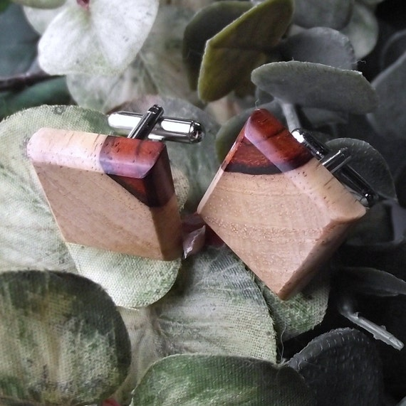 Wood Cuff Links Handmade from Cocobolo Wood - Cufflinks - Perfect for the Groom or as a Gift - 3/4 inch Diameter