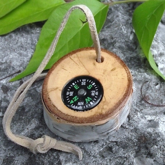 Wood Pocket Compass Handmade from a Reclaimed Birch Wood Tree Branch - Pocket Survival For Hiking, Camping, or Gift for the Nature Lover