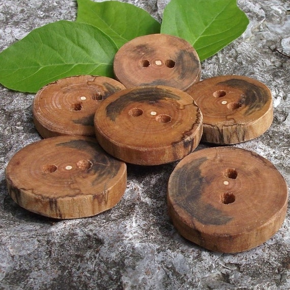 Wood Tree Branch Buttons - 6 Rustic Cherry Wooden Buttons - 1 1/4 inches, 2 holes, For Journals, Pillows, Fiber Artists