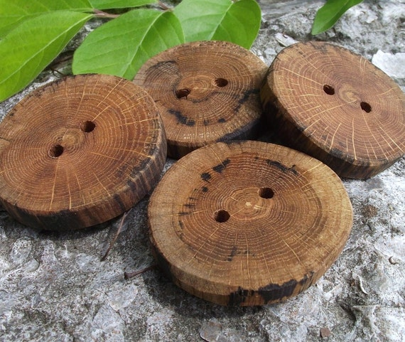 Wood Buttons - 4 Oak Wooden Tree Branch Buttons - 2 to 1 7/8 inches, 2 Holes, For Knitting, Journals, Pillows, Purses