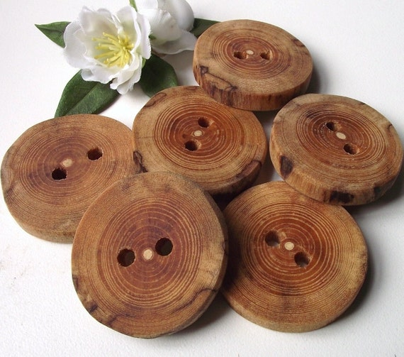 Wood Tree Branch Buttons - 6 Rustic Cherry Wooden Buttons - 1 1/2 inches, 2 holes, For Journals, Pillows, Fiber Artists