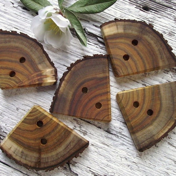 Wood Tree Branch Buttons - 5 Natural Wood Triangle Buttons - 1 5/8 x 2 inches, 2 holes, Perfect for Fiber Artists, Journals, Purses