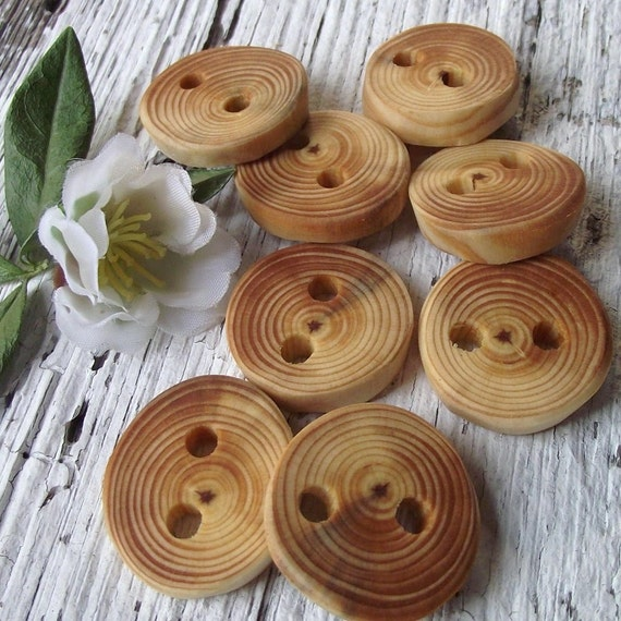 Small Wood Buttons - 8 Rustic Ohio Pine Wood Tree Branch Buttons - 2 holes, 1 inch - For journals, purses, pillows, and more