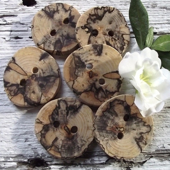 6 Spalted Maple Wood Wooden Tree Branch Buttons - 1 1/2 inches, 2 Holes, For hand knits, journals, and pillows