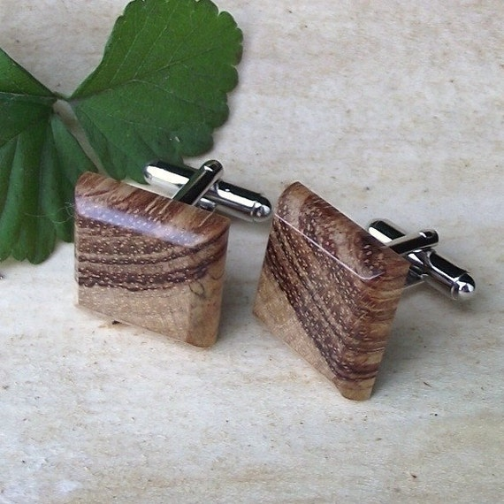 Wood Cuff Links - Wooden Cufflinks - Bubinga Wood - Perfect Gift for the Groom, Best Man, Groomsmen, or Father - 3/4 inch Diameter