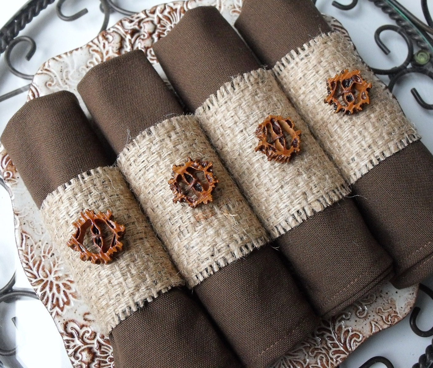 Napkin Rings Upcycled Burlap Napkin Rings with by ARemarkYouMade