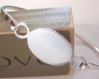 Engraved Sterling Silver Oval Bangle Bracelet, Silver Initial Bracelet, Monogrammed Jewelry, Graduate, Sorority Sister, Greek Letters, 16
