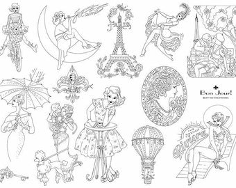Bonjour Iron on Hand Embroidery Pattern (original design)