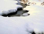 Snowy Creek Winter Stream Animal Tracks Snow Wintery Rustic Cabin Lodge Photograph