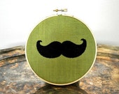 Mustache Embroidery Hoop Art