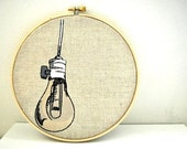Light Bulb Embroidery Hoop Art