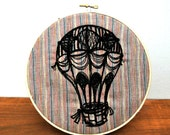 Hot Air Balloon Embroidery Hoop Art