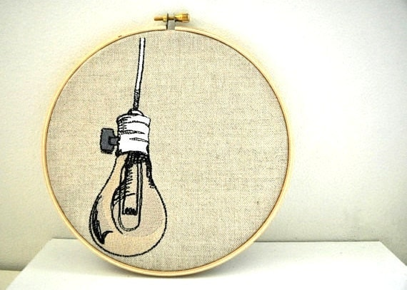 Items Similar To Light Bulb Embroidery Hoop Art On Etsy