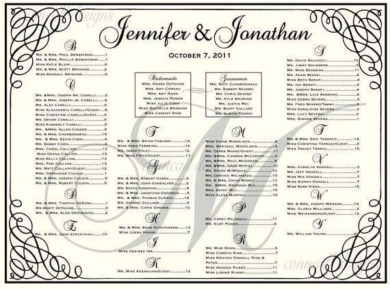 Items Similar To Wedding Seating Chart Seating Template Wedding