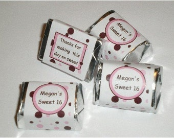 60 Brown and Pink Dots Candy Wrappers