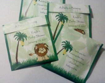 30 Baby Shower Jungle Tea Bag Favors