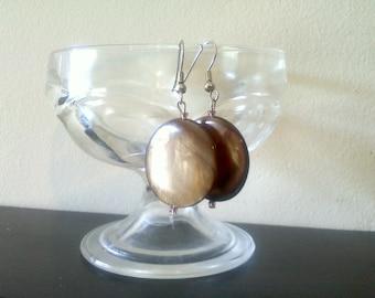 Brown Circle Earrings