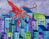 ORIGINAL Squid Attacking City Watercolor Painting
