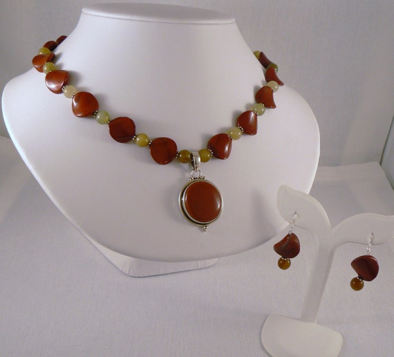 Red Jasper and Rainbow Soocho Jade Necklace and Earrings, Sterling Silver Necklace and Earrings